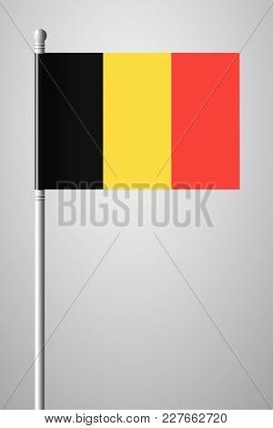 Flag Of Belgium. National Flag On Flagpole. Isolated Illustration