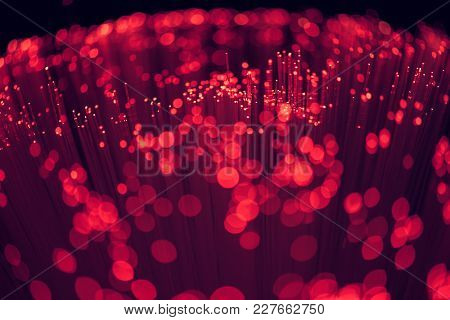 Selective Focus Of Glowing Red Fiber Optics Background