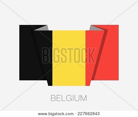 Flag Of Belgium. Flat Icon Waving Flag With Country Name On A White