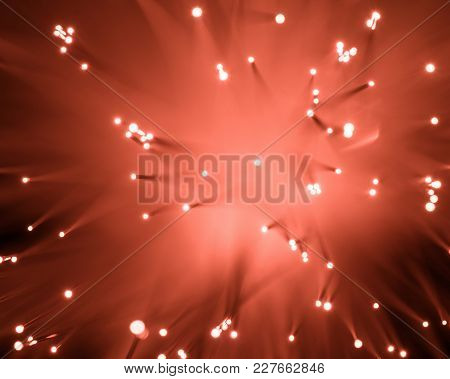 Top View Of Blurred Glowing Red Fiber Optics Texture