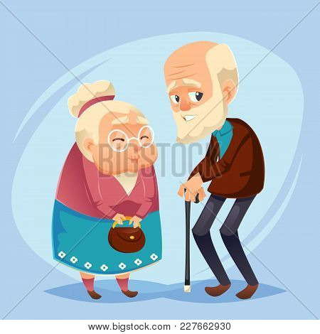 Senior Lady And Gentleman With Silver Hair Happy Old Age Elderly Couple. Grandparents Grandfather, G