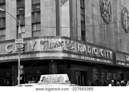 New York, Usa - November 13, 2008: Corner Of Radio City Music Hall, Theater Building, Modern Archite
