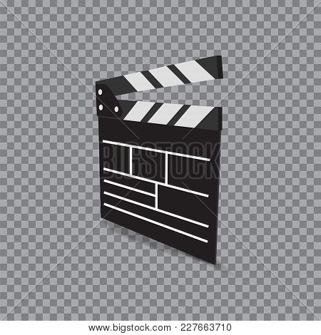 Clapper Board Icon . Vector Illustration On Transparent Background.