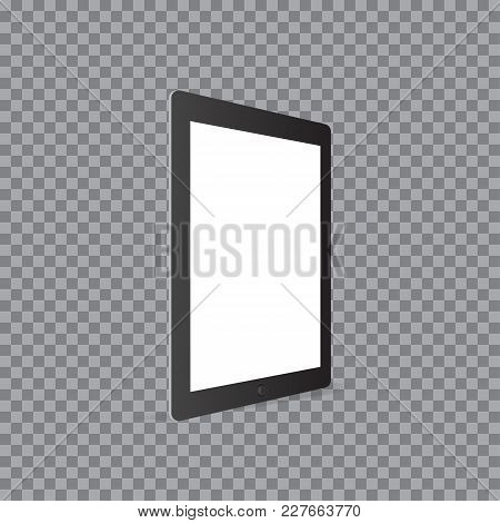 Realistic Tablet Computer With Blank Screen On Transparent Background.