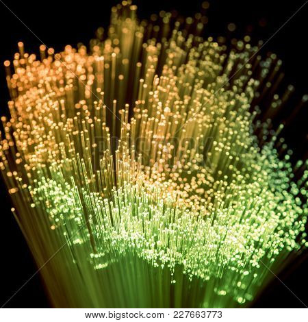 Glowing Green And Yellow Fiber Optics Texture