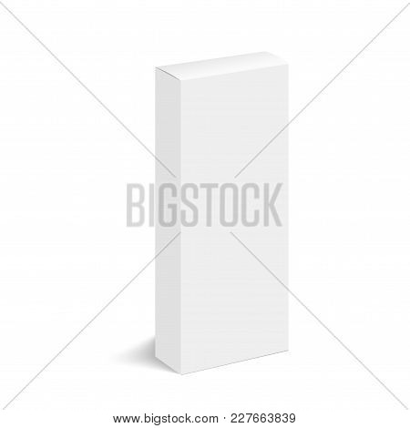 Blank Of Closed Cardboard Box With Soft Shadow. Cosmetic Box. Vector.