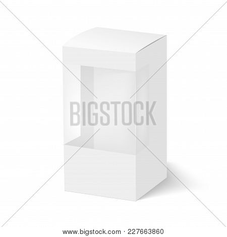 Blank Of Box With Plastic Window For Product. Vector.