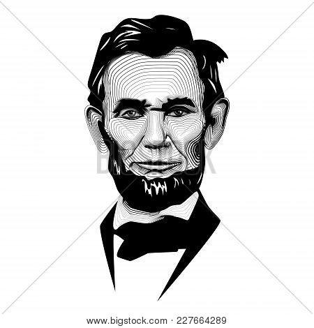 Historic Black White Monochrome Vector Line Art President Abraham Lincoln