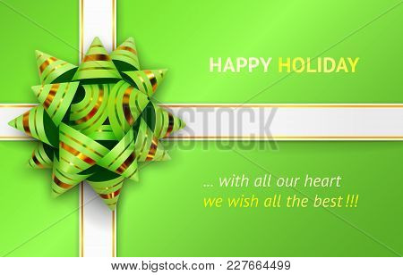 Vector Illustration Of Green Bow And White Ribbons With Gold Stripes For Packing Gifts, Isolated On