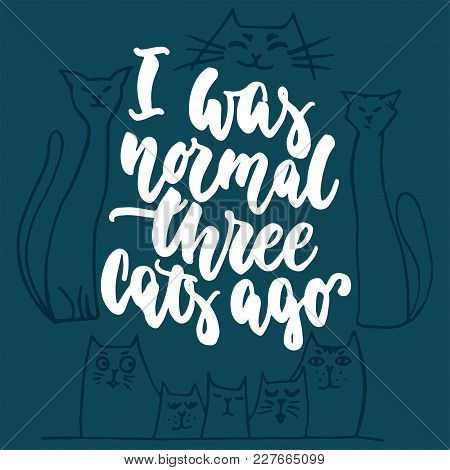 I Was Normal Three Cats Ago - Hand Drawn Lettering Phrase For Animal Lovers On The Dark Blue Backgro