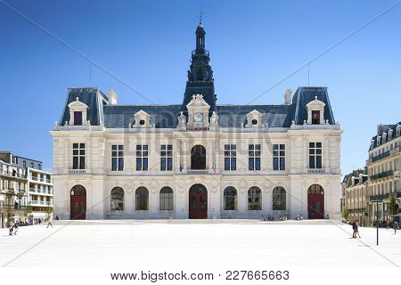 Poitiers, Nouvelle-aquitaine, France - July 04, 2011: City Hall In Place Du Marechal Leclerc Poitier