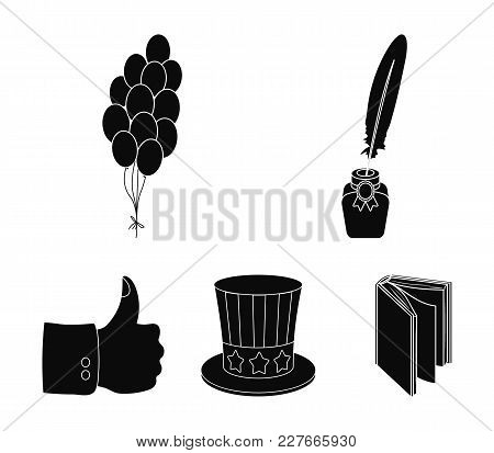 Balloons, Inkwell With A Pen, Uncle Sam's Hat. The Patriot's Day Set Collection Icons In Black Style