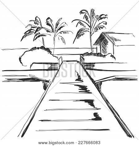 Beach Resort Area With Traffic Footpath. Landscape Sketch