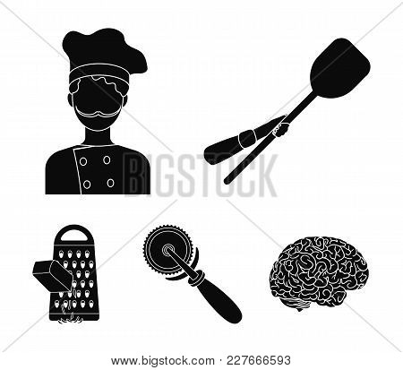 Paddle For The Oven, Cutter For Pizza, Cook, Rubbing Cheese. Pizza And Pizzeria Set Collection Icons