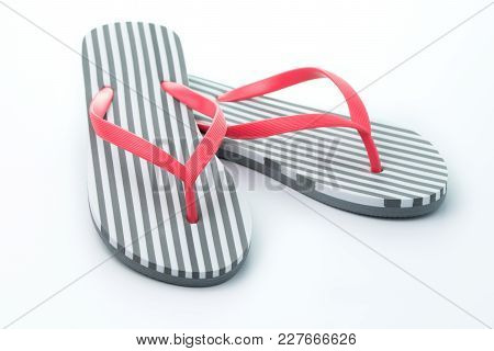Stripe Flip Flops Isolated On White Background