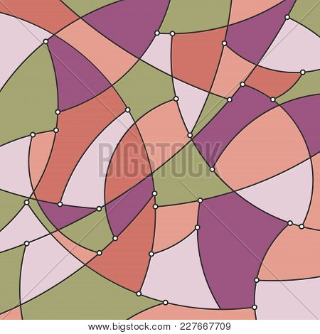 Abstract Colorful Geometric Background Of The Curves And Nodes, Stained Glass Pattern In Shades Of P