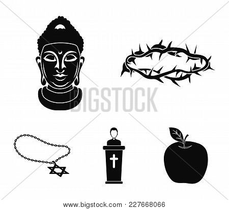 A Crown Of Thorns, A Star Of David, A Priest, A Buddha's Head. Religion Set Collection Icons In Blac
