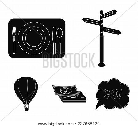 Vacation, Travel, Pointer, Way, Navigation .rest And Travel Set Collection Icons In Black Style Vect
