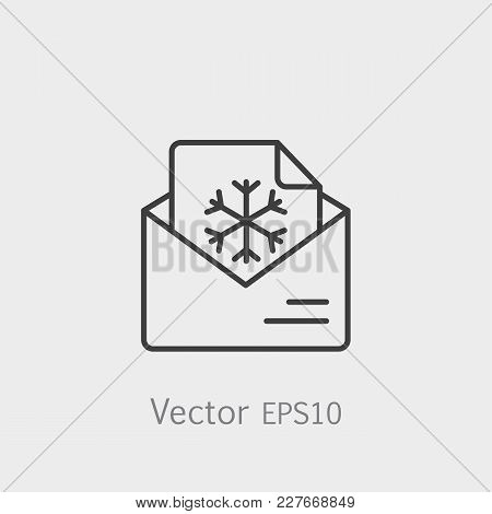 Email Postcard Letter Xmas Christmas Snowflake Thin Line Outline Black Icon. Vector Illustration.