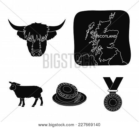 Territory On The Map, Bull's Head, Cow, Eggs. Scotland Country Set Collection Icons In Black Style V