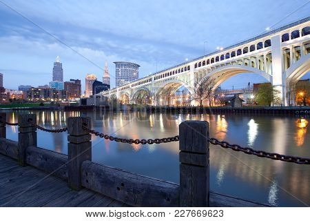 Skyline Of Downtown Cleveland And Detroit Superios Bridge, Ohio, Usa