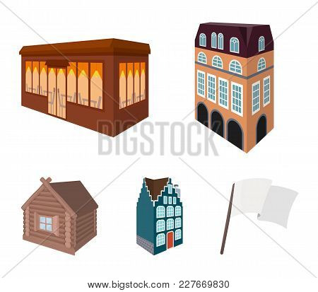 Residential House In English Style, A Cottage With Stained-glass Windows, A Cafe Building, A Wooden