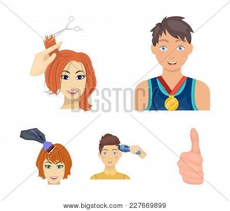 Athlete With A Medal, A Haircut With An Electric Typewriter And Other Web Icon In Cartoon Style. Wom