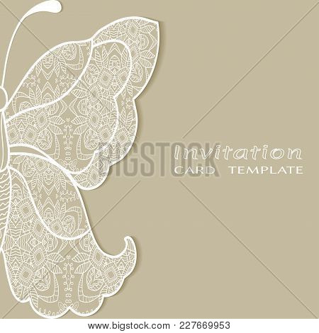 Invitation Or Card Template With Lace Border, Butterfly Wing