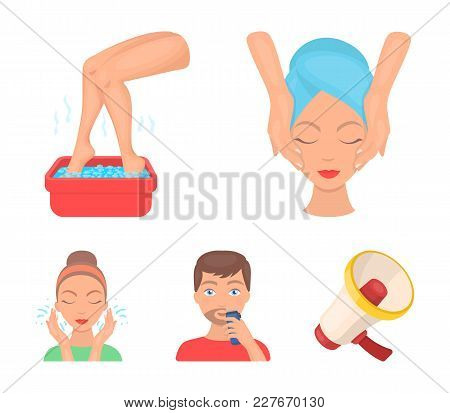 Face Massage, Foot Bath, Shaving, Face Washing. Skin Care Set Collection Icons In Cartoon Style Vect