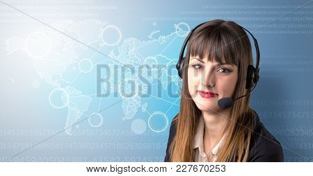 Young female telemarketer with blue background and world map and numbers behind her