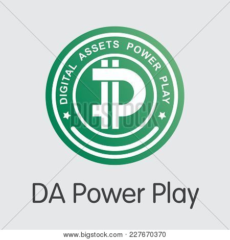 Da Power Play Finance. Cryptographic Currency - Vector Sign Icon. Modern Computer Network Technology