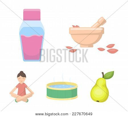 A Bowl With Flower Petals And Tolkushka, A Bottle With Ointment Or Cream, A Pool With Water, A Woman