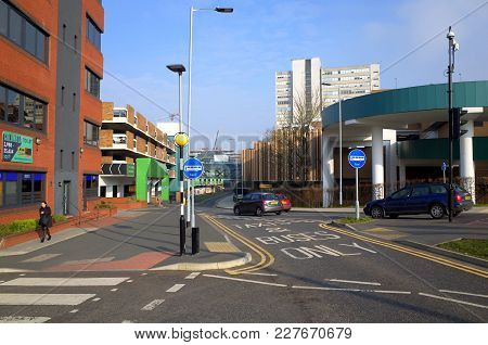 Bracknell, England - February 21, 2018:  Wide Angle View Of Office Buildings And Multi-storey Car Pa