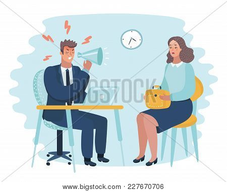 Vector Cartoon Illustration Of Mad Office Man. Angry Employer Interview.