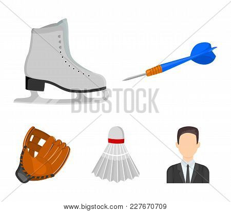 Darts Darts, White Skate Skates, Badminton Shuttlecock, Glove For The Game.sport Set Collection Icon