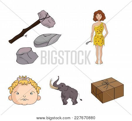 Weapon, Hammer, Elephant, Mammoth .stone Age Set Collection Icons In Cartoon Style Vector Symbol Sto