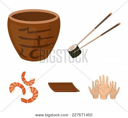 Sticks, Shrimp, Substrate, Bowl.sushi Set Collection Icons In Cartoon Style Vector Symbol Stock Illu