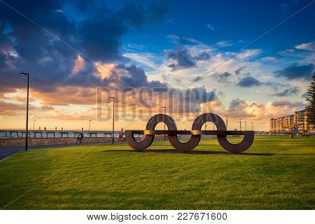 Adelaide, South Australia - February 25, 2016: Wave Shaped Installation In Jimmy Melrose Park At Gle