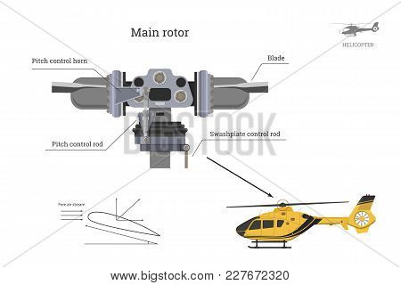 Blueprint Of Main Rotor Of Helicopter. Industrial Drawing Of Gearbox Part. Detailed Isolated Image O