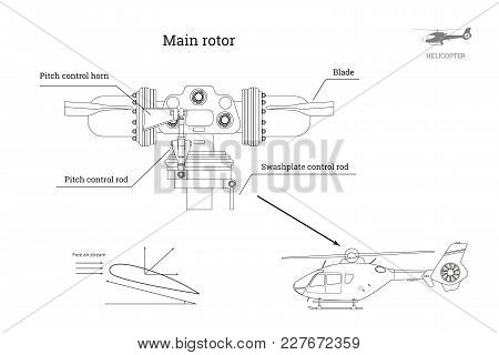 Blueprint Of Main Rotor Of Helicopter In Outline Style. Industrial Drawing Of Gearbox Part. Detailed