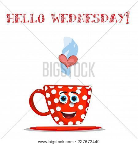 Cute Cartoon Smiling Red Cup Character With White Polka Dots Pattern, Blue Eyes, Heart In Steam And