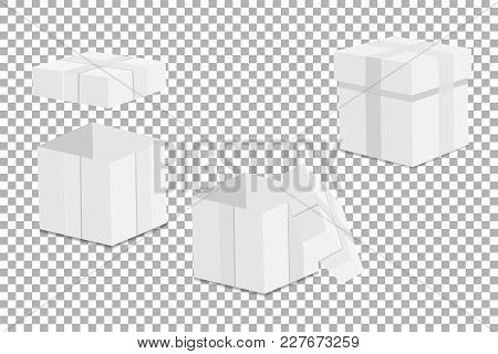 White Empty Mock-up Gift Box . On A Transparent Background. Vector Illustration