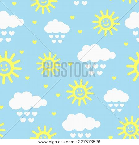 Cute Seamless Pattern With Clouds, Raindrops, Hearts And Smiling Sun. Drawn By Hand. Sketch, Doodle.