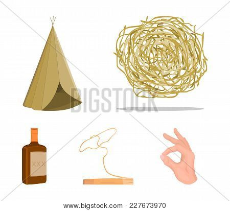 Roll-field, Indian Wigwam, Lasso, Whiskey Bottle. Wild West Set Collection Icons In Cartoon Style Ve