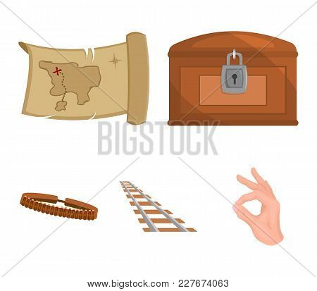 Treasure Map, Chest, Rails, Patrol.wild West Set Collection Icons In Cartoon Style Vector Symbol Sto