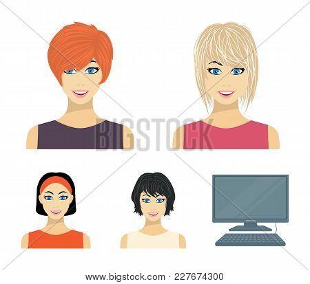 Types Of Female Hairstyles Cartoon Icons In Set Collection For Design. Appearance Of A Woman Vector