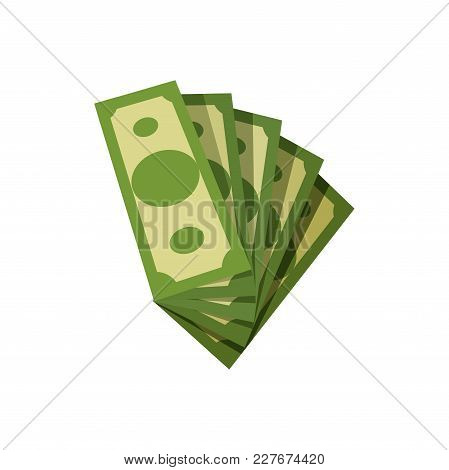 Fan Of American Banknotes. Green Paper Money. Five Dollar Bills. Banking Currency Of Usa. Concept Of