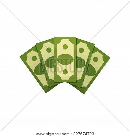 Cartoon Illustration Of Money Fan. Five Dollar Bills. Green Banknotes. American Currency. Concept Of