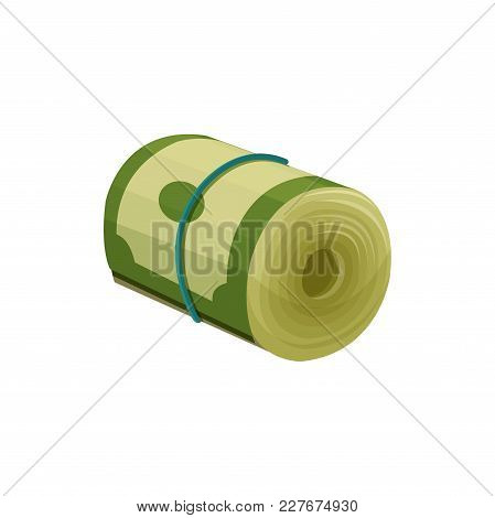Green Dollar Banknotes Rolled Up And Tied With Blue Rubber Band. American Currency. Paper Money. Fin