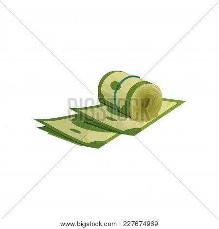 Icon Of Green American Dollars. Roll Of Money Wrapped With Blue Elastic. Financial Theme. Wealth Con